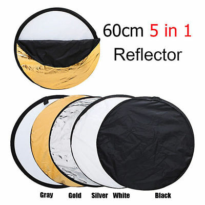 60cm 5 in 1 Disc Photo Photography Light Multi Reflector Panel Collapsible Bag