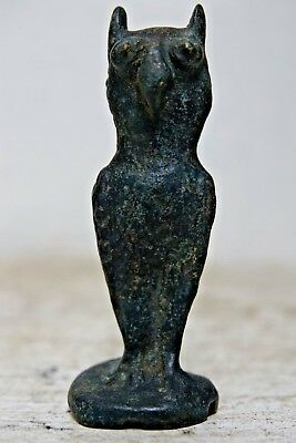 Most Unusual Early Bronze Owl Figure - Egyptian Antiquity Style - Very Rare L@@k