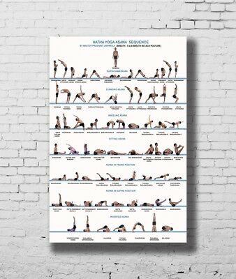 24x36 14x21 40 Poster Yoga Exercise Bodybuilding Chart Art Hot P-2534