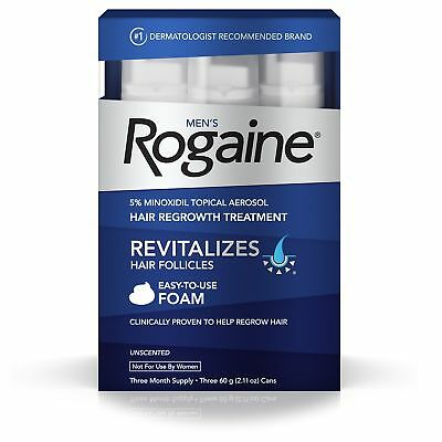 3 Month Men's Rogaine 5% Minoxidil Foam for Hair Loss Regrowth Topical Treatment