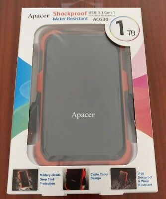 Apacer AC630 1TB External Portable HDD USB3.1 SHOCKPROOF, WATER RESISTANT 1 TB
