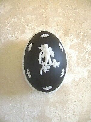 """large"" Wedgwood White On Black Jasperware Egg Shaped Lidded Trinket Box"