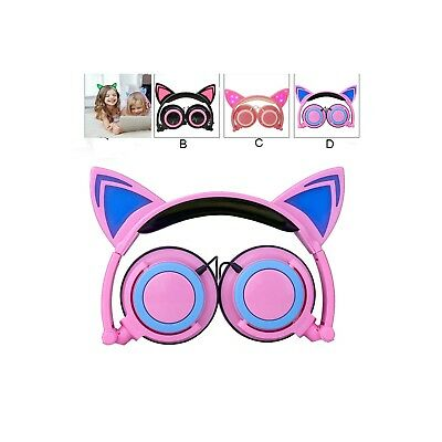 Foldable Cat Ear LED Music Lights Cool Headphone Headset for PC Laptop MP3  MP4