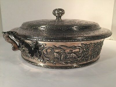 Antique Handcrafted Ornate Museum Quality Artwork PYREX Silver Serving Dish 1919