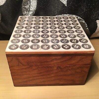"""BUTTONS """"Brown & Silver"""" Beautiful Wooden Decorative Wood Trinket Jewellery Box"""
