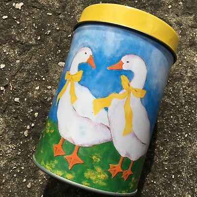 "FARMYARD GEESE ""Blue"" Lovely Decorative Metal Lolly Tin Biscuit Canister (110mm)"