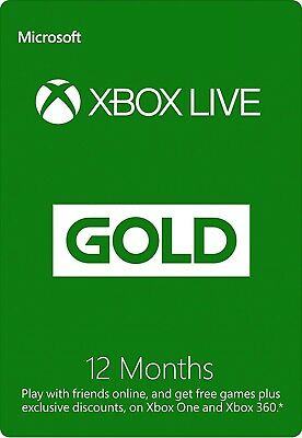 Xbox Live 12 Month Gold Membership - For Microsoft Xbox One 360 Subscription CA