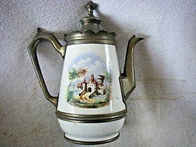 Enamel Ware Pewter Coffee Pot 1870s1880s  Porcelain Early Castle Scene Antique
