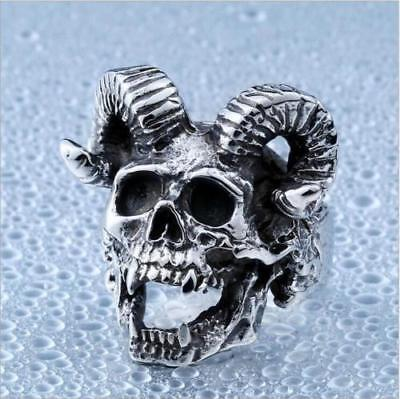 Men Silver Terror Sheep Goat Skull Stainless Steel Jewelry Punk Band Ring Gifts