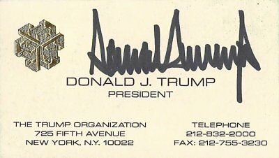 AUTOGRAPHED Donald Trump Vintage Signed Rare Chinese Writing Business Card w/COA