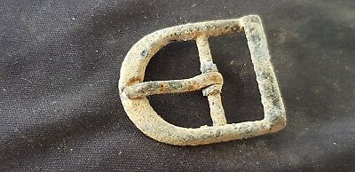 Superb post Medieval intact pewter buckle found in England, uncleaned Con. L25a