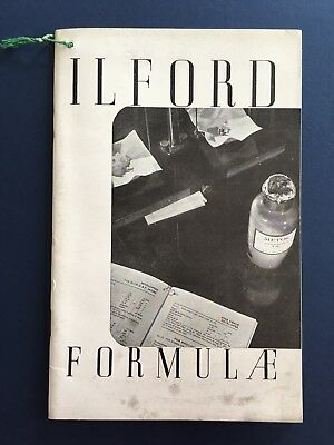 ILFORD FORMULAE BOOKLET 1946-ish Film Photography Vintage