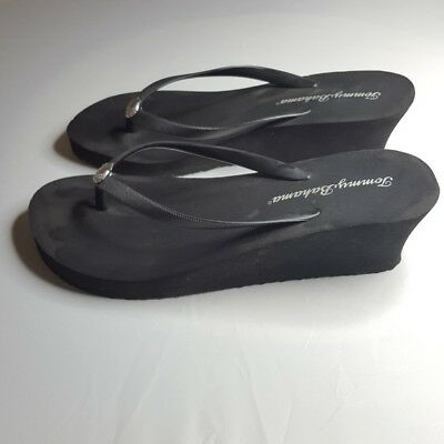 90699fa8a634bd Tommy Bahama Whykiki Womens Flip Flops SZ 9 Black Wedge Thong Sandals  Seashells