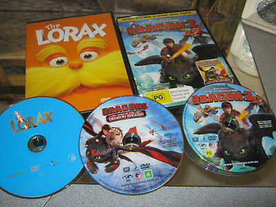 How To Train Your Dragon 2  & The Lorax Dvd ( New )