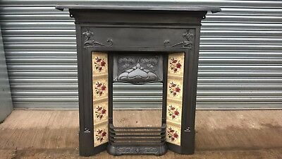 Art Nouveau Cast Iron tiled combination fireplace  All-In-One Fireplace