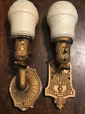 Antique Gold Painted Cast Iron Sconce Lights Painted Shades Similar not Matching