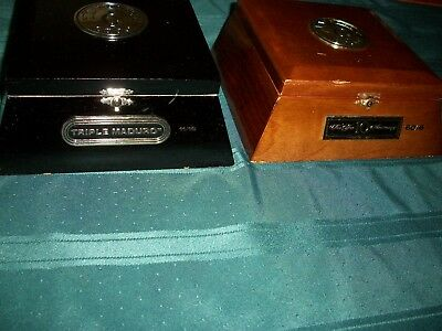 RARE PAIR of CAMACHO Wooden CIGAR BOXES Strong Laminated Box Gold Etching Empty