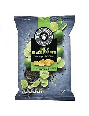Red Rock Chip Lime Pepper 165g