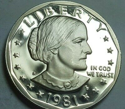1981-S Proof Susan B. Anthony Dollar Type 2 Clear S' Deep Cameo BU