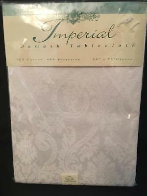 Vintage But New Imperial Damask Tablecloth ~ White ~ 52 x 70""