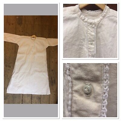 ANTIQUE 19th CENTURY FRENCH FARMER UTILITY HEAVY LINEN SMOCK NIGHTSHIRT CHEMISE