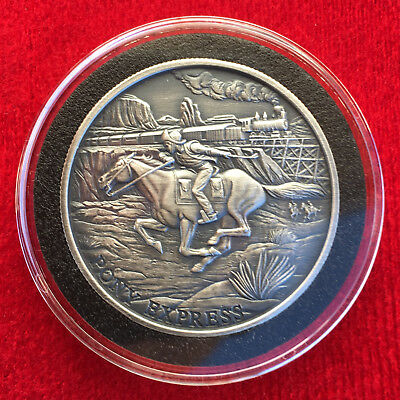 Prospector Series - PONY EXPRESS 1 OZ .999 Silver Round Antique Finish - Capsule