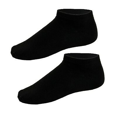6 Pairs Black Girls Cotton Blend Trainer Socks Sport Shoe Liners School 9-12