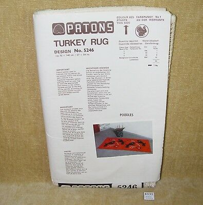 VINTAGE ORIGINAL PATONS TURKEY RUG MAKING KIT #5246 POODLES UNUSED RARE 1970s