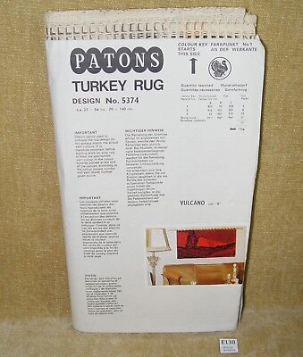 VINTAGE ORIGINAL PATONS TURKEY RUG MAKING KIT #5374 VULCANO UNUSED RARE 1970s