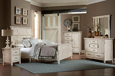 2c48873524458d Traditional Craftman Design White Finish 5pcs Bedroom Set w/ Queen Size Bed  IA5W