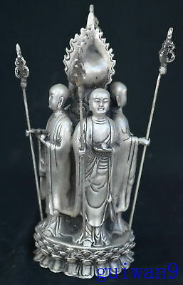 Collectable Chinese Miao Silver Carve Ancient 4 Major Tibet Kings Old Statue