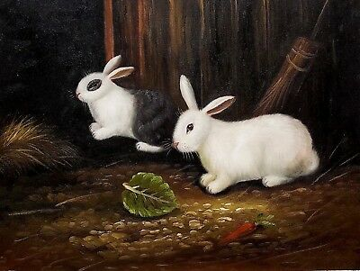 Rabbit in the Farm, #6  12x16 100% Hand painted Oil Painting on Canvas,