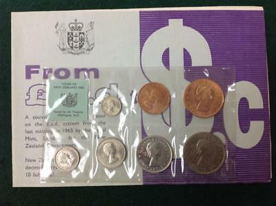 1965 New Zealand Uncirculated Coin Set Last Decimal Issue