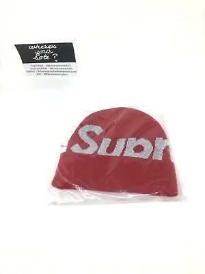 3cc6d8692 SUPREME RED BIG Logo Beanie 3M Reflective New DS FW18