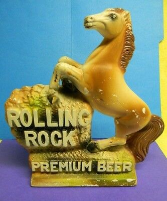 Vintage Rolling Rock Beer Bar Back Ceramic Horse Sign Latrobe Pennsylvania
