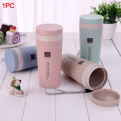 Double-wall Wheat Straw Coffee Cup Travel Mug Leak proof with Lid Bottle 430ML