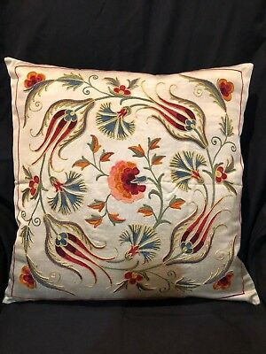 Uzbek Handmade Suzani Silk Pillowcase, New, Shipped from USA