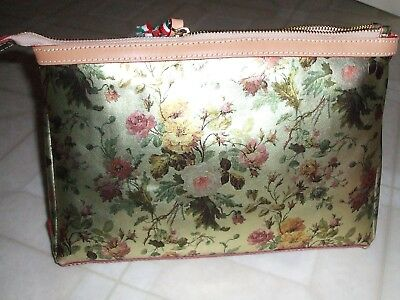 4824b48103a9 NWT Cavalcanti Italy Large Col Wild Rose Plat Leather Cosmetic Wristlet Bag