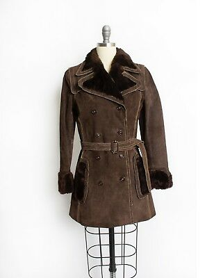 Vintage 1970s Coat - Dark Brown FAUX Fur & Suede Leather Extra Small S