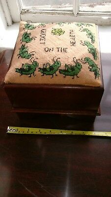 "Vtg Childs Foot Stool Embroidery, Cricket on the Hearth 6"" x 7"" x 7"""