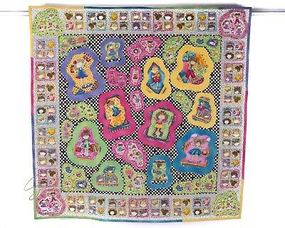 Handmade Quilted Applique Wall Hanging Quilt Little Girl Child Whimsical
