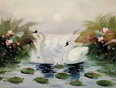 Swans in the Pond- #1, 12x16 100% Hand painted Oil Painting on Canvas,