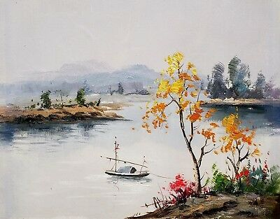 Oriental Landscape, #5  12x16 100% Hand painted Oil Painting on Canvas,