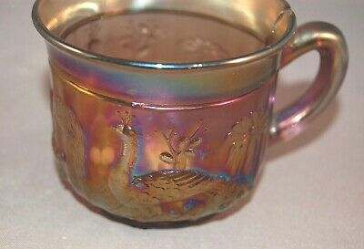 RARE Carnival Glass Lavender Northwood Peacock at the Fountain Punch Cup!