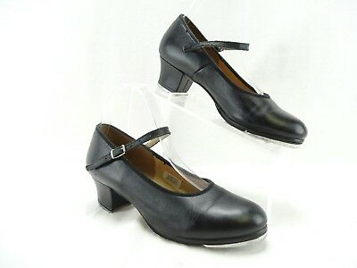 Bloch Techno Character Tap Dance Shoes Black Leather Mary Jane Heels Women's 8