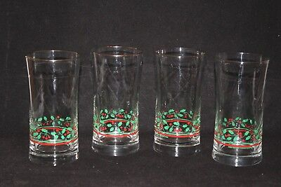 4 LIBBEY Holly Berry Swirl Arby's Christmas Drink Glass Tumbler HIGHBALL 1987