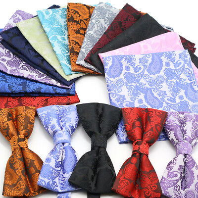 New Men's Bow Tie Pocket Square Set Silk Red Black Floral Handkerchief For Party