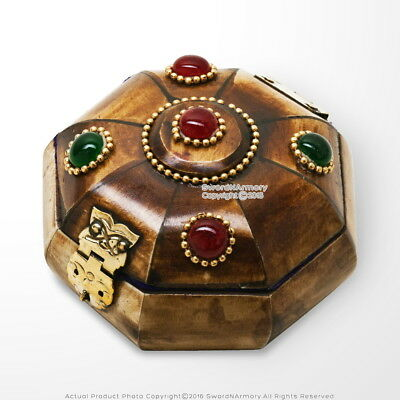 Bejeweled Bos Taurus Cow Bone Jewelry Box with Brass Fittings Velvet Lining