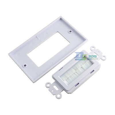 White 1 Gang Single Brush Wall plate Faceplate Exit for Home Theater Media Cable