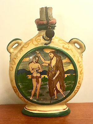 Antique Orthodox/Greek? Christian Hand Painted Pottery Flask Icon Saint. Baptism